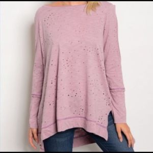 MIRACLE BERRY Distressed Cold Shoulder Tee
